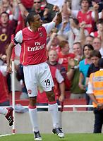 Photo: Daniel Hambury.<br />Arsenal v Aston Villa. The Barclays Premiership. 19/08/2006.<br />Arsenal's Gilberto celebrates his goal.