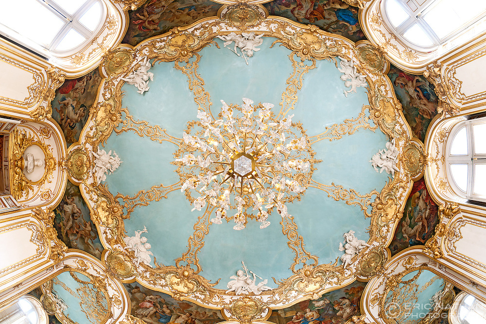 Ceiling of the Salon Ovale in the Hotel de Soubise (now the National Archives) in Paris, France.