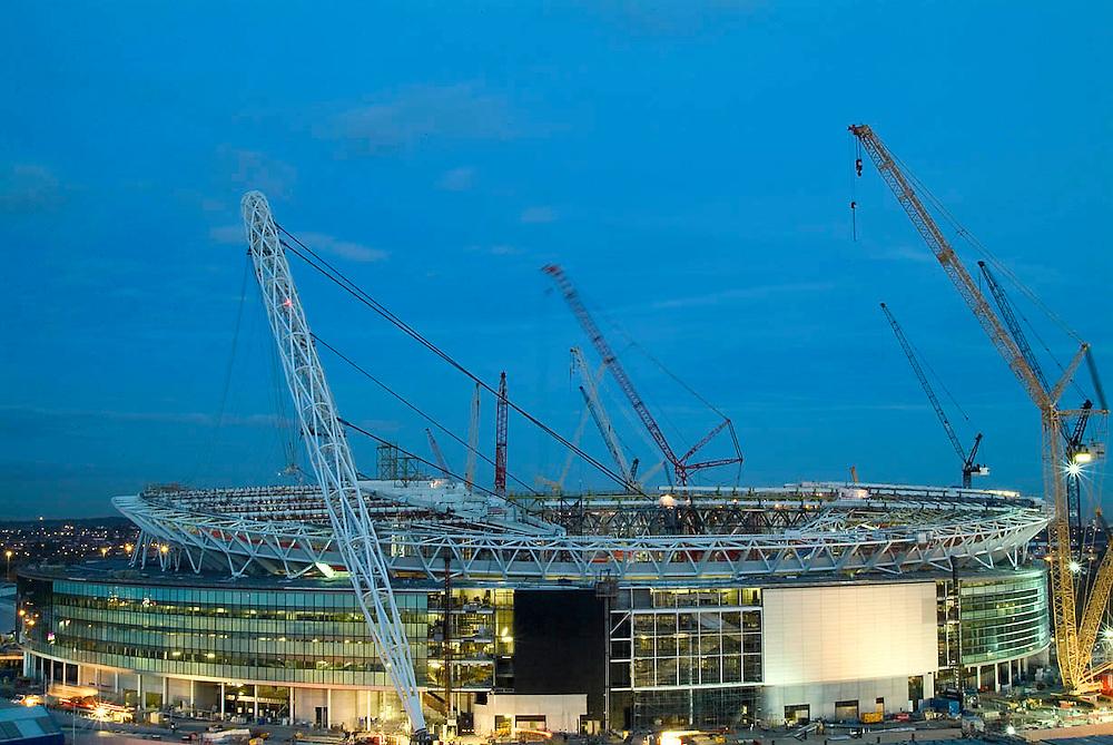 Wembley Stadium under construction. London.
