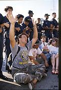 Anti-abortion protestors in Atlanta block health providers clinic doors and are arrested by uniformed Atlanta police.