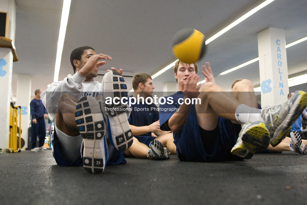30 October 2007: North Carolina Tar Heels men's lacrosse members Milton Lyles and Chris Hunt work out in the weight room in Chapel Hill, NC.
