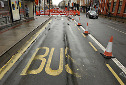 © Licensed to London News Pictures. 25/08/2014; Bristol, UK.  Picture of main bus stop on Old Market with ruts in the tarmac caused by buses.  A replacement temporary Bus Stop was mis-spelt and painted as Bup Stop.  It is near the offices of the Bristol Post which was formerly owned by Bristol United Press (BUP).  The bus stop is temporary while the main bus stop is resurfaced following ruts in the tarmac caused by buses.<br /> Photo credit: Simon Chapman/LNP