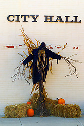 Halloween decorations outside a building in the midwest part of the United States
