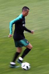 June 4, 2018 - Lisbon, Portugal - Portugal's forward Cristiano Ronaldo in action during a training session at Cidade do Futebol (Football City) training camp in Oeiras, outskirts of Lisbon, on June 4, 2018, ahead of the FIFA World Cup Russia 2018 preparation match against Algeria. (Credit Image: © Pedro Fiuza/NurPhoto via ZUMA Press)