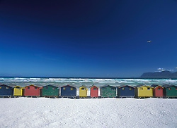 Looking out to False Bay over beach huts on Muizenburg beach, Cape Town, South Africa. (Credit Image: © Axiom/ZUMApress.com)