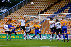 Richard Keogh of Derby County attempts to head the ball away from danger - Mandatory by-line: Ryan Crockett/JMP - 18/07/2018 - FOOTBALL - One Call Stadium - Mansfield, England - Mansfield Town v Derby County - Pre-season friendly