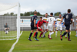 Dumbarton's goalkeeper Jamie Ewings can't stop Falkirk's Conor McGrandles goal.<br /> Dumbarton 1 v 1 Falkirk, Scottish Championship 10/8/2013.<br /> ©Michael Schofield.