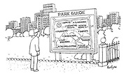 (A man in a city park looks at a plan of the park with various feature marked on it like 'muggers', 'rapists', child molesters', gay bashers')