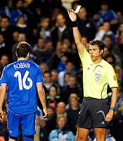 Photo: Alan Crowhurst.<br />Chelsea v FC Porto. UEFA Champions League. Last 16, 2nd Leg. 06/03/2007. Chelsea's Arjen Robben (L)  receives a yellow for diving.