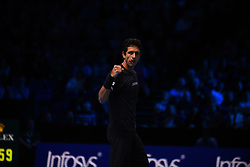 November 15, 2017 - London, England, United Kingdom - Marcelo Melo of Brazil partner of Lukasz Kubot of Poland celebrates a point during the doubles match against Bob Bryan of The United States and Mike Bryan of The United States on day four of the 2017 Nitto ATP World Tour Finals at O2 Arena on November 15, 2017 in London, England. (Credit Image: © Alberto Pezzali/NurPhoto via ZUMA Press)