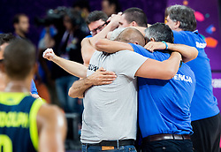 Matej Erjavec and Igor Kokoskov, coach of Slovenia celebrate after winning during basketball match between National Teams of Slovenia and Spain at Day 15 in Semifinal of the FIBA EuroBasket 2017 at Sinan Erdem Dome in Istanbul, Turkey on September 14, 2017. Photo by Vid Ponikvar / Sportida