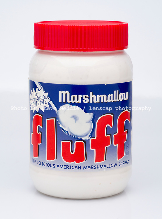 London, England - March 03, 2017: Jar of Marshmallow Fluff, A spreadable marshmallow confection, Made by Durkee Mower Inc in America.
