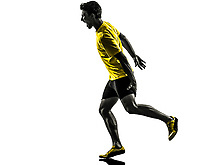 one  man young sprinter runner running muscle strain cramp in silhouette studio on white background