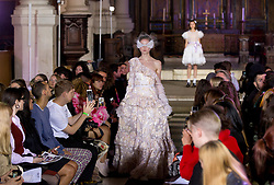 Models on the catwalk during the Ryan LO with Hailey Baldwin at London Fashion Week SS18 show held at St Sepulchre-without-Newgate Church, London. PRESS ASSOCIATION. Picture date: Friday September 15, 2017. Photo credit should read: Isabel Infantes/PA Wire