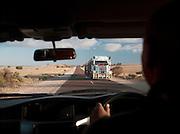 Passing a Road Train truck in the Eyre Peninsula, South Australia, Australia