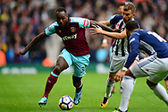Michail Antonio of West Ham United battles with James Morrison of West Bromwich. Premier league match, West Bromwich Albion v West Ham United at the Hawthorns stadium in West Bromwich, Midlands on Saturday 16th September 2017. pic by Bradley Collyer, Andrew Orchard sports photography.