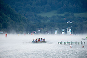 Aiguebelette, FRANCE, The GER M8+, training in the mist at the  2015 FISA World Rowing Championships, Venue, Lake Aiguebelette - Savoie. <br /> <br /> Saturday  05/09/2015  [Mandatory Credit. Peter SPURRIER/Intersport Images]. © Peter SPURRIER, Atmospheric, Rowing