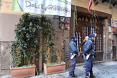 External view and street near Pizzeria Sorbillo, after attack with bomb -16 Jan 2019