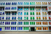 21 DECEMBER 2012 - SINGAPORE, SINGAPORE:  The colorful facade of the Ministry of Information, Communications and Arts in Singapore. The building used to the general police headquarters when  Singapore was a British Crown Colony.    PHOTO BY JACK KURTZ