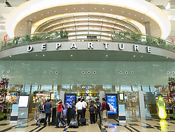 Entrance to Departures security at new Terminal 3 at Changi Airport in Singapore