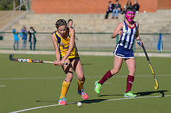 Marli van Deventer of Oranje MS and Elenore Pretorius of HMS Bloemhof during day two of the FNB Private Wealth Super 12 Hockey Tournament held at Oranje Meisieskool in Bloemfontein, South Africa on the 7th August 2016, <br /> <br /> Photo by:   Frikkie Kapp / Real Time Images