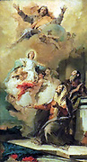 The Immaculate Conception (God sends the Virgin Mary to Joachim and Anne) by Giovanni Battista Tiepolo (1696-1770) oil on canvas, c 1757-1759.  This is a study for a large altarpiece.  The subject, Mary's virgin birth (the Immaculate Conception) is rarely depicted so literally.  God delivers the infant Mary directly from heaven to her parents, Anne and Joachim.  Tiepolo's oil sketches were praised for their fluent brushworks and rich colours.  He was among the earliest painters to produce these kinds of sketches as independent art works.
