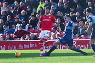 Daniel Pinillos of Barnsley (23) passes the ball during the EFL Sky Bet League 1 match between Barnsley and Wycombe Wanderers at Oakwell, Barnsley, England on 16 February 2019.