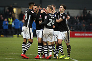 James Wilson of Lincoln City (c) celebrates with his team mates after he scores his team's first goal. EFL Skybet Football League two match, Barnet v Lincoln City at the Hive in London on Saturday 20th January 2018. <br /> pic by Steffan Bowen, Andrew Orchard sports photography.