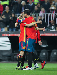 March 23, 2019 - Valencia, Valencia, Spain - Sergio Ramos and Jordi Alba of Spain celebrating a goal during European Qualifiers championship, , football match between Spain and Norway, March 23th, in Mestalla Stadium in Valencia, Spain. (Credit Image: © AFP7 via ZUMA Wire)