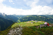Zillertal, Tyrol, Austria Couple lookout at the landscape