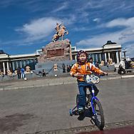 Mongolia. Ulaanbaatar. people on Sukhe bator square, the city center of  Ulaanbaatar. , mongolia