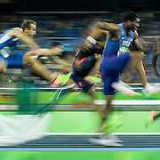 Ronnie Ash of the United States, second from right, ran in the 110m hurdles final on Tuesday at the Olympic Stadium during the 2016 Summer Olympics Games in Rio de Janeiro, Brazil.