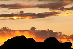 North America, United States, Utah, Arches National Park, sunset behind butte