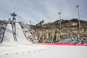 The Alpensia Ski Jump during the Pyeongchang Winter Olympics 2018 on February 19th 2018, at the Alpensia Ski Jumping Centre, South Korea
