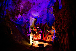 Musicians perform during the Living Nativity Scenes inside Postojna Cave, on December 21, 2017 in Postojna, Slovenia. Living Nativity Scene is staged along a 5 km long path through the world-famous Postojna Cave in Slovenia with some 200 people performing and working. Photo by Vid Ponikvar / Sportida