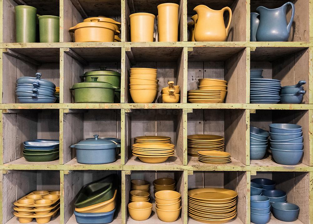 Flatware pottery for sale in a studio shop,, Bennington Potters, Bennington, Vermont, USA.