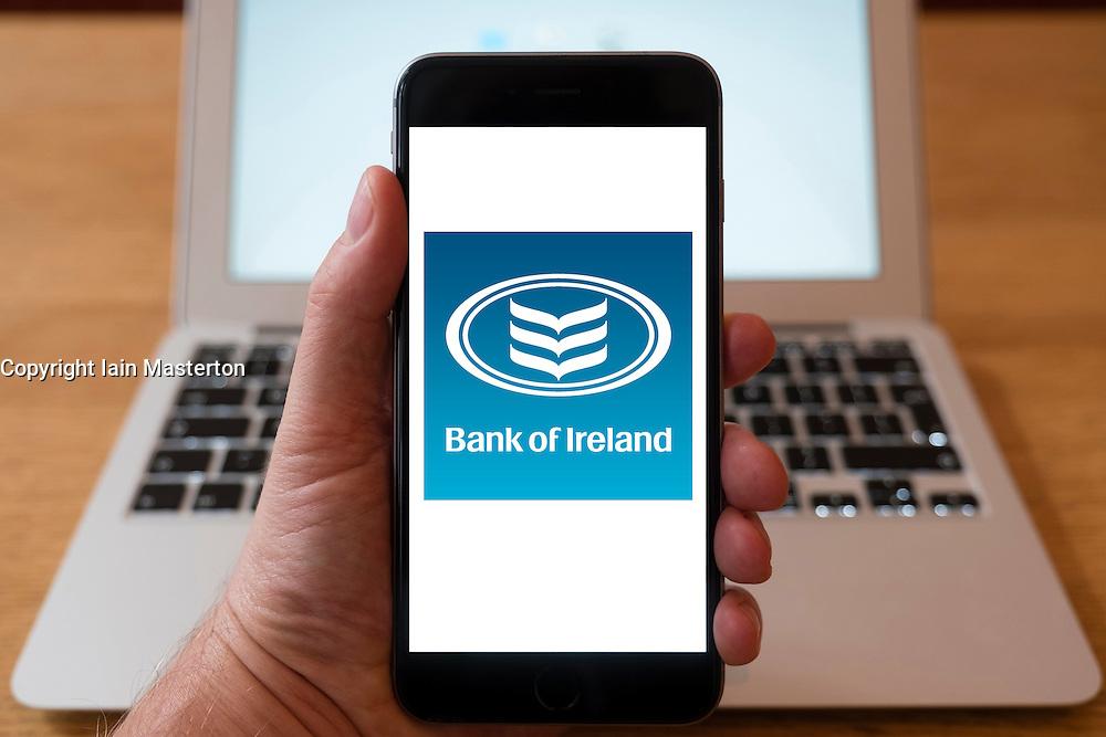 Using iPhone smart phone to display website logo of Bank of Ireland