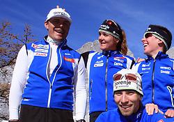 Slovenian team of nordic skiing:  1st line: Nejc Brodar,  2nd line: Ivan Hudac, Petra Majdic and Barbara Jezersek  at practice of Slovenian Cross country National team before new season 2008/2009, on October 22, 2008, glacier Dachstein, Ramsau, Austria. (Photo by Vid Ponikvar / Sportida).
