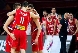 Bogdan Bogdanovic of Serbia, Vladimir Lucic of Serbia and Dragan Milosavljevic of Serbia during basketball match between National Teams of Russia and Serbia at Day 16 in Semifinal of the FIBA EuroBasket 2017 at Sinan Erdem Dome in Istanbul, Turkey on September 15, 2017. Photo by Vid Ponikvar / Sportida