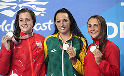 England's Molly Renshaw (silver), South Africa's Tatjana Schoenmaker (gold) and Wales' Chloe Tutton (bronze) with their medals after the Women's 200m Breaststroke Final at the Gold Coast Aquatic Centre during day three of the 2018 Commonwealth Games in the Gold Coast, Australia. PRESS ASSOCIATION Photo. Picture date: Saturday April 7, 2018. See PA story COMMONWEALTH Swimming. Photo credit should read: Danny Lawson/PA Wire. RESTRICTIONS: Editorial use only. No commercial use. No video emulation.