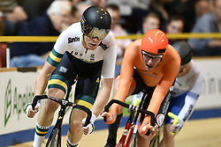 March 2, 2018 - Apeldoorn, NETHERLANDS - Australian Cameron Meyer of Mitchelton - Scott pictured in action during the men's points race event at the 2018 world championships track cycling in Apeldoorn, the Netherlands, Friday 02 March 2018. The track cycling worlds take place from 28 February to 04 March. BELGA PHOTO YORICK JANSENS (Credit Image: © Yorick Jansens/Belga via ZUMA Press)