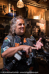 Horst Roesler at the Harley-Davidson of Cologne dealership party during the Intermot Motorcycle Trade Fair. Cologne, Germany. Tuesday October 4, 2016. Photography ©2016 Michael Lichter.
