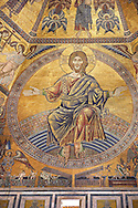The Medieval mosaics of the ceiling of The Baptistry of Florence Duomo ( Battistero di San Giovanni ) showing Jesus Christ with arms stretched revealing the stigmata,  started in 1225 by Venetian craftsmen in a Byzantine style and completed in the 14th century. Florence Italy .<br /> <br /> If you prefer you can also buy from our ALAMY PHOTO LIBRARY  Collection visit : https://www.alamy.com/portfolio/paul-williams-funkystock/byzantine-art-antiquities.html . Type -   Florence   - into the LOWER SEARCH WITHIN GALLERY box. Refine search by adding subject etc<br /> <br /> Visit our BYZANTINE ART PHOTO COLLECTION for more   photos  to download or buy as prints https://funkystock.photoshelter.com/gallery-collection/Roman-Byzantine-Art-Artefacts-Antiquities-Historic-Sites-Pictures-Images-of/C0000lW_87AclrOk .<br /> <br /> Visit our ITALY PHOTO COLLECTION for more   photos of Italy to download or buy as prints https://funkystock.photoshelter.com/gallery-collection/2b-Pictures-Images-of-Italy-Photos-of-Italian-Historic-Landmark-Sites/C0000qxA2zGFjd_k<br /> .<br /> <br /> Visit our MEDIEVAL PHOTO COLLECTIONS for more   photos  to download or buy as prints https://funkystock.photoshelter.com/gallery-collection/Medieval-Middle-Ages-Historic-Places-Arcaeological-Sites-Pictures-Images-of/C0000B5ZA54_WD0s