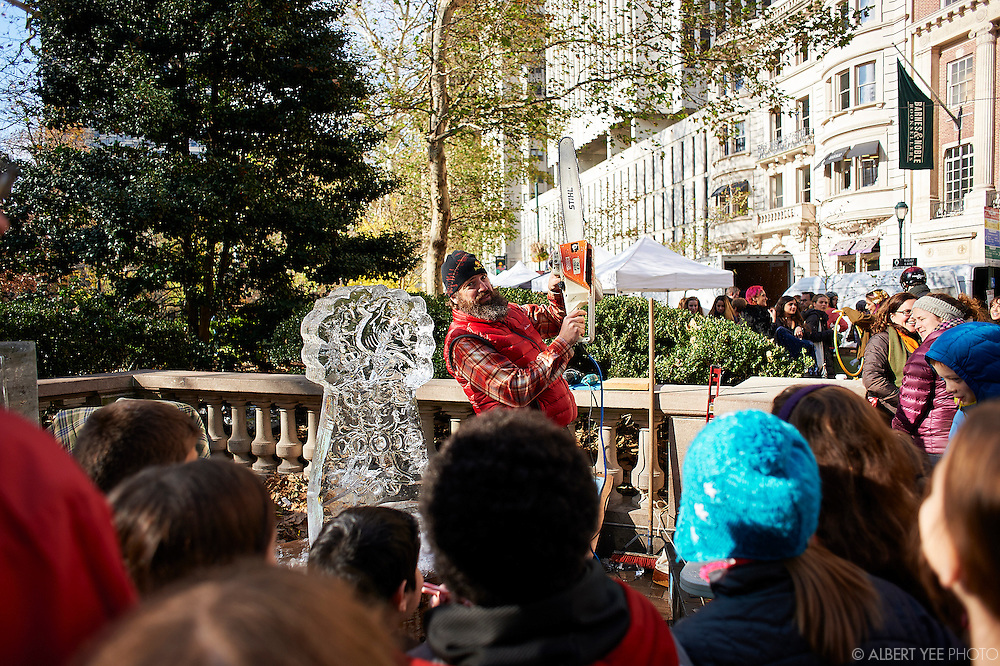 Ice sculptures by Roger Wing.<br /> The Fairmount Park Conservancy unveils the plans for the annual Holly Trolley Day and Christmas at the Historic Houses of Fairmount Park<br /> Rittenhouse Square Park<br /> November 24, 2015