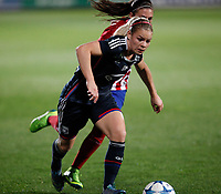 Atletico de Madrid´s Tudela and Olympique Lyonnais´s Le Sommer during UEFA Women´s Champions League soccer match between Atletico de Madrid and Olympique Lyonnais, in Madrid, Spain. November 11, 2015. (ALTERPHOTOS/Victor Blanco)