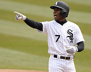 CHICAGO - APRIL 05:  Tim Anderson #7 of the Chicago White Sox reacts after reaching base against the Seattle Mariners on April 5, 2019 at Guaranteed Rate Field in Chicago, Illinois.  (Photo by Ron Vesely)  Subject:  Tim Anderson