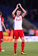 Jonny Evans of West Bromwich Albion claps off the fans at end of the game .Premier league match, Leicester City v West Bromwich Albion at the King Power Stadium in Leicester, Leicestershire on Monday 16th October 2017.<br /> pic by Bradley Collyer, Andrew Orchard sports photography.