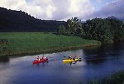 Kayaking, Hanalei River, Hanalei, Kauai, Hawaii<br />