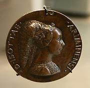 Portrait in relief of Isotta degli Atti, Italian Renaissance woman on a medal/coin. Circa 1453-1455. By Matteo de'Pasti. Rimini, Italy.