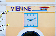 The SNCF train station in Vienne with a big clock, isere, France, Europe
